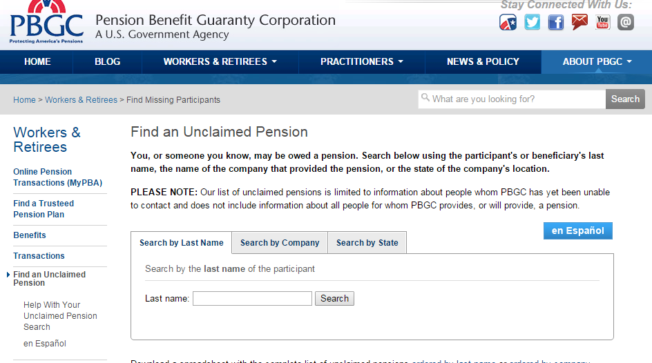 Sample Pension Plan Search screen