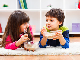 Children eating cereal